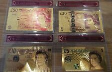 NEW 50, 20,10,5 Full Set 24K Gold Foil Bullion Bar UK stock