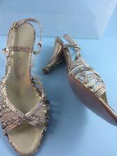 Gino Vaello size 40 7 gold leather strappy High heel evening sandal party Cruise