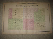 ANTIQUE 1877 LAKEFIELD FREMONT TOWNSHIP SAGINAW COUNTY MICHIGAN HANDCOLORED MAP