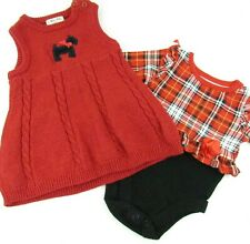 Baby Girl Christmas Clothes Lot of 2 0-3 Months Red Sweater Dress Plaid Bodysuit