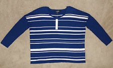 New Womens August Silk XL Lightweight Sweater 3/4 Sleeve Blue/Beige Striped Top