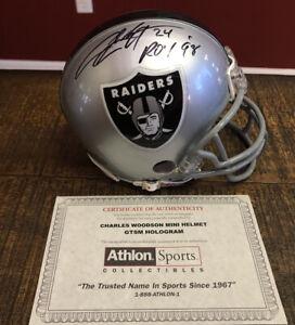 HOF Charles Woodson Oakland Raiders Riddell  Signed Mini Football Helmet