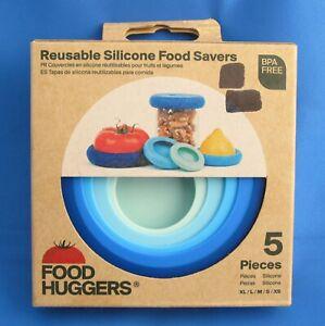 New Food Huggers Reusable Silicone Food Savers Set of 5 Pieces Blue NIP NIB