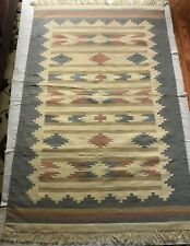 Rug Woolen Hand Woven Dhuree 4'x6' Pink Blue Brown Cabin Decor Made in India EUC