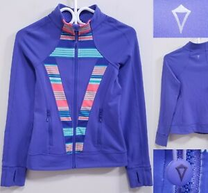Ivivva By Lululemon Perfect Your Practice Purple Stripe Sweater Size 12 Jacket