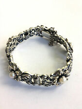 Blachian Antik joyas (bas) 835 Sterling plata auténtica perla pulsera