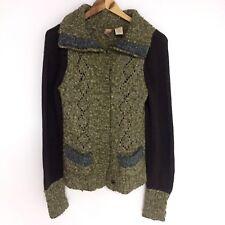 BKE Buckle Cardigan Sweater Women's Size L Brown Green Wool Blend Snap Front