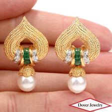 Designer Diamond 1.25ct Emerald Pearl 18K Gold Spade Earrings 19.1 Grams NR