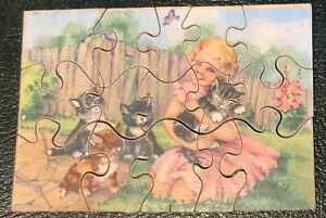 Vintage 15 Piece CHILDRENS WOODEN JIGSAW from the 1960s or earlier