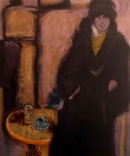 "Robert Delval ""Jeunne Fille (Manteau Noir)"" Signed Numbered Lithograph, France"
