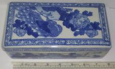 Chinese Underglaze Blue Lidded Porcelain Box. Blue Mark Inside Lid.