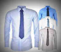 NEW Mens Pierre Cardin Standard Collar Shirt and Tie Set Long Sleeves Size M-4XL