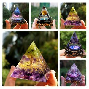 Amethyst Orgonite Pyramid Crystal Sphere Healing Gemstone Energy Stone Ornaments