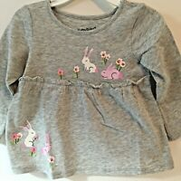 Jumping Beans Baby Girl Shirt 24M Gray Bunnies Long Sleeve New