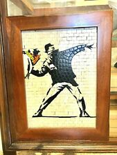 Stone Mosaic Banksy Piece of art, handcrafted by Professional artist.