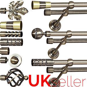 Metal Double Curtain Pole / Rod Set 16mm Antique Brass, Classic Bracket, Bedroom