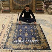 Yilong 4.3'x6.2' Handmade Silk Area Rugs Blue All Over Home Decor Carpets 1716