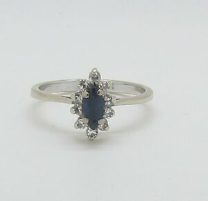 Dazzling 18ct White Gold Sapphire and Diamond Marquise Cluster Ring