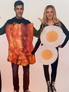 Couples Mens Womens Eggs Bacon Halloween Costume Adult Breakfast L XL Purim NEW