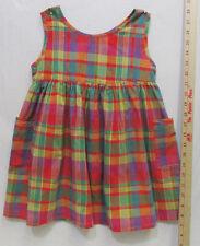 Evy Girls Jumper Dress Cotton Purple Red & Green Plaid Size 5