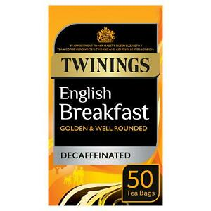Twinings English Breakfast Decaff 50 Tea Bags 125G - Sold Worldwide From UK