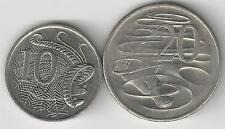 2 COINS from AUSTRALIA - 10 CENT w/ LYREBIRD & 20 CENT w/ PLATYPUS (BOTH 2006)