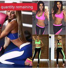 Women Yoga Fitness Bra+Pants Leggings Set Gym Workout Sports Wear
