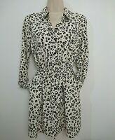 Tu Animal Print Cream Black Blouse Tunic Top Size 10 Drawstring Waist Pockets