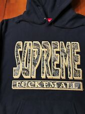 Supreme Paisley F*ck Em All Hoodie Navy Blue L Box Logo Dead Stock Rare AW17