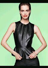 H&M Black Leather Zipped Sleeveless Peplum Top UK 12 BNWT Bloggers Favourite
