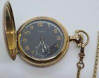 Antique 1905 ELGIN Black Military Dial 15J Gold GF Full Hunter Pocket Watch 16s