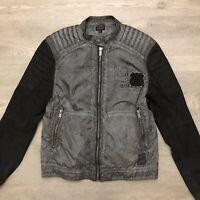 Buffalo David Bitton Mens Jawick Nylon/Cotton Black Gray Casual Jacket Size M