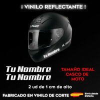 PEGATINAS PERSONALIZABLES (X2) CON TU NOMBRE BLANCO REFLECTANTE CASCO DE MOTO
