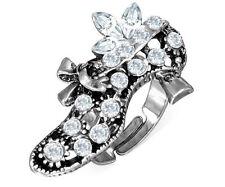 Fashion Alloy Fancy High Heel Lady Shoe Adjustable Cocktail Ring CZ Women Cute