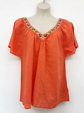 Monsoon Top 14 16 Orange Coral Beaded 100% Cotton Ethnic Holiday Boho Festival