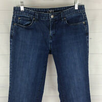 Ann Taylor LOFT womens size 4 short stretch blue dark wash mid rise bootcut jean