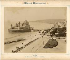 France, Nice, la promenade des anglais à vol d'oiseau  vintage albumen prin