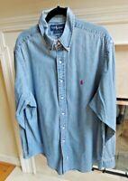 Vtg Polo Ralph Lauren Mens XL Chambray Soft Blue Faded Denim Long Sleeve