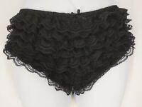 Vintage Black Lace Ruffle Sissy Bikini Panty Panties Stretchy Nylon Small