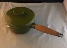 Vintage COPCO Denmark Michael Lax Avocado Green Enamel on Cast Iron Pan w/ Lid
