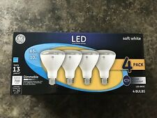 4PK GE LED INDOOR DIMMABLE FLOODLIGHT BULBS 65W BR30 ( SOFT WHITE)
