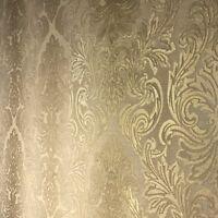Wallpaper beige tan gold metallic rolls textured Victorian old Vintage damask 3D
