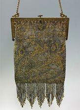 Antique Art Deco Gold and Silver Beaded Handbag w/ Silk Lining