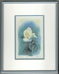 White rose, 8x10 double matted and framed, NEW, ART
