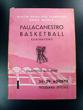 1960 USA Olympics Basketball Game Program Italy *RARE*