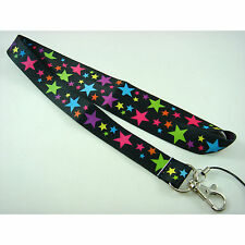 Multi Colour Stars Neck Lanyard Strap Cell Mobile Phone ID Card Key chain + GIFT