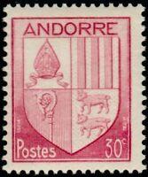 "ANDORRE FRANCAIS N°94 ""ARMOIRIES DES VALLEES 30 C. ROSE LILAS"" NEUF xx TTB"