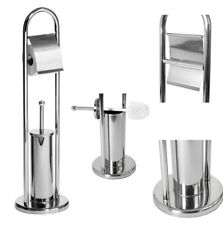 CHROME FREE STANDING STAINLESS STEEL TOILET ROLL HOLDER AND TOILET BRUSH STAND