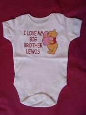 "Neuf GEORGE Bébé Garçon Blanc Gilet ""J' aime mon grand frère Lewis"" 0 - 3 mois Winnie"