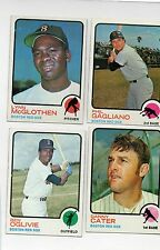 4-1973 topps lot red sox 69 gagliano 114 mcglothen 317 danny cater 388 oglivie
